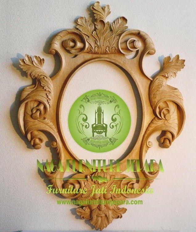 mirror cermin mewah kayu mahoni Jati