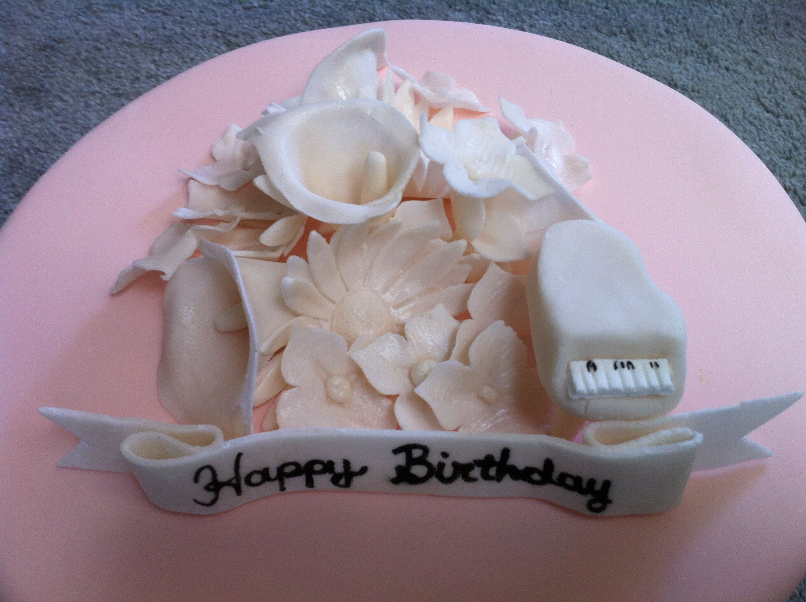 Peach with ivory flowers and piano