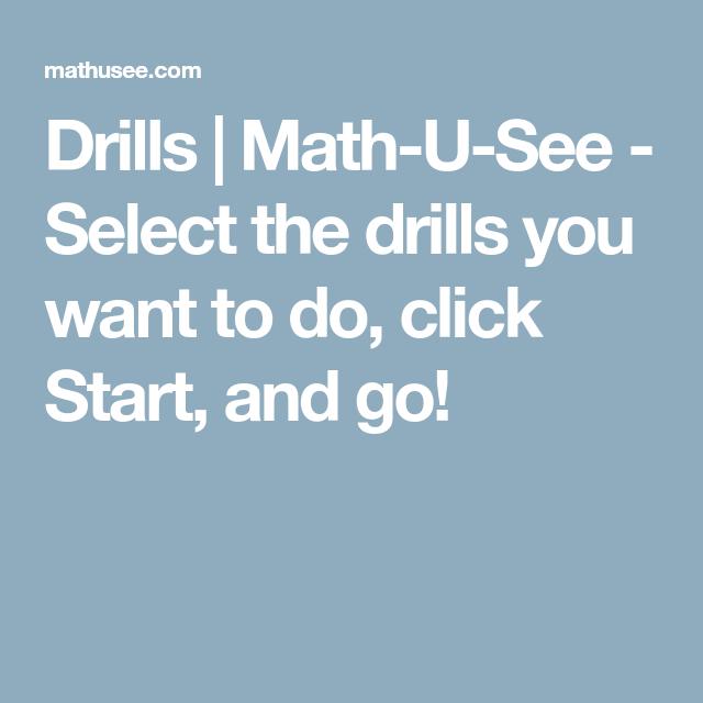 Drills Math U See Select The