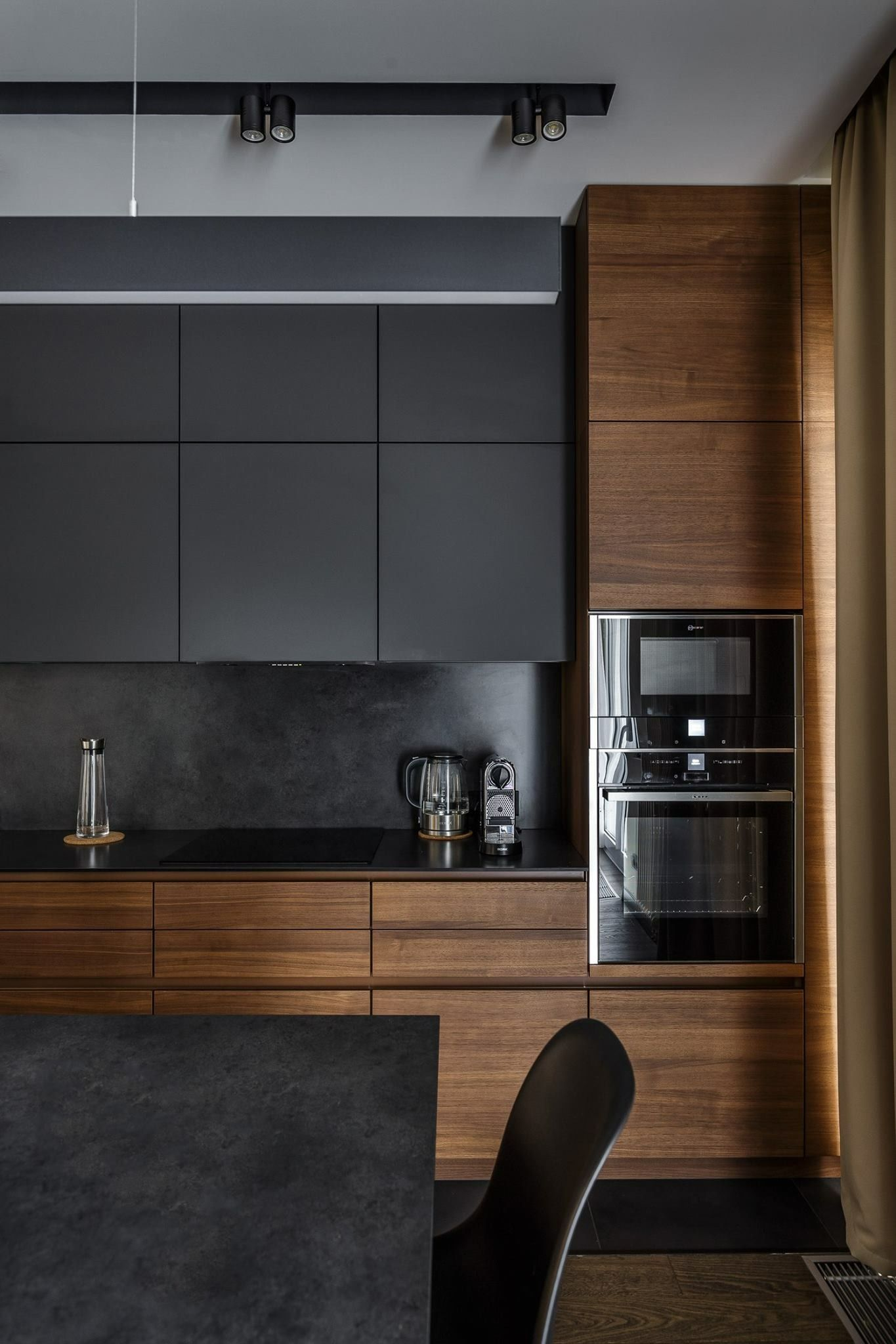 Love the walnut cabinets...   Small modern kitchens, Kitchen room ...