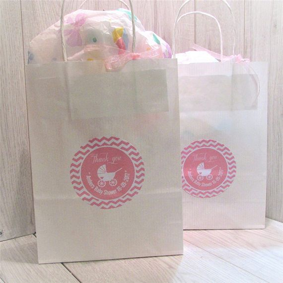 Baby Shower Custom Personalised Paper Gift Bag with Twist