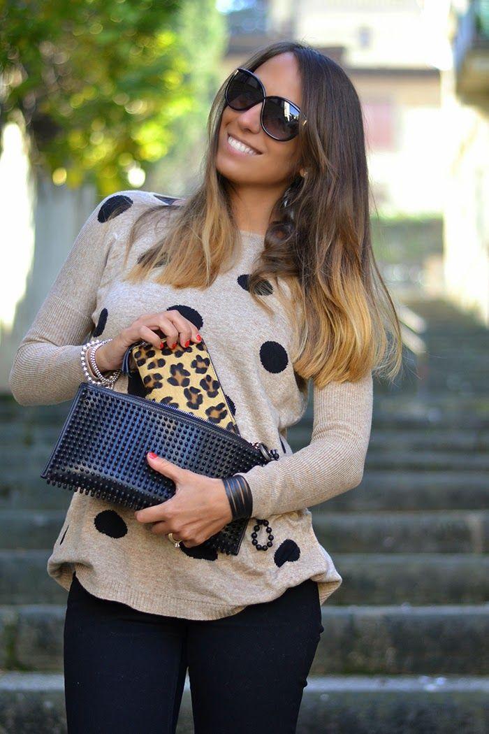 leopard print - portafoglio leopardato - polka dots sweater - maglione a pois