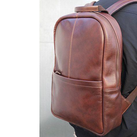 Buy John Lewis Gladstone Leather Backpack, Tan Online at johnlewis ...