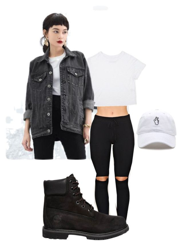 Black denim by sophiegreen1 on Polyvore featuring polyvore, fashion, style, Timberland and clothing
