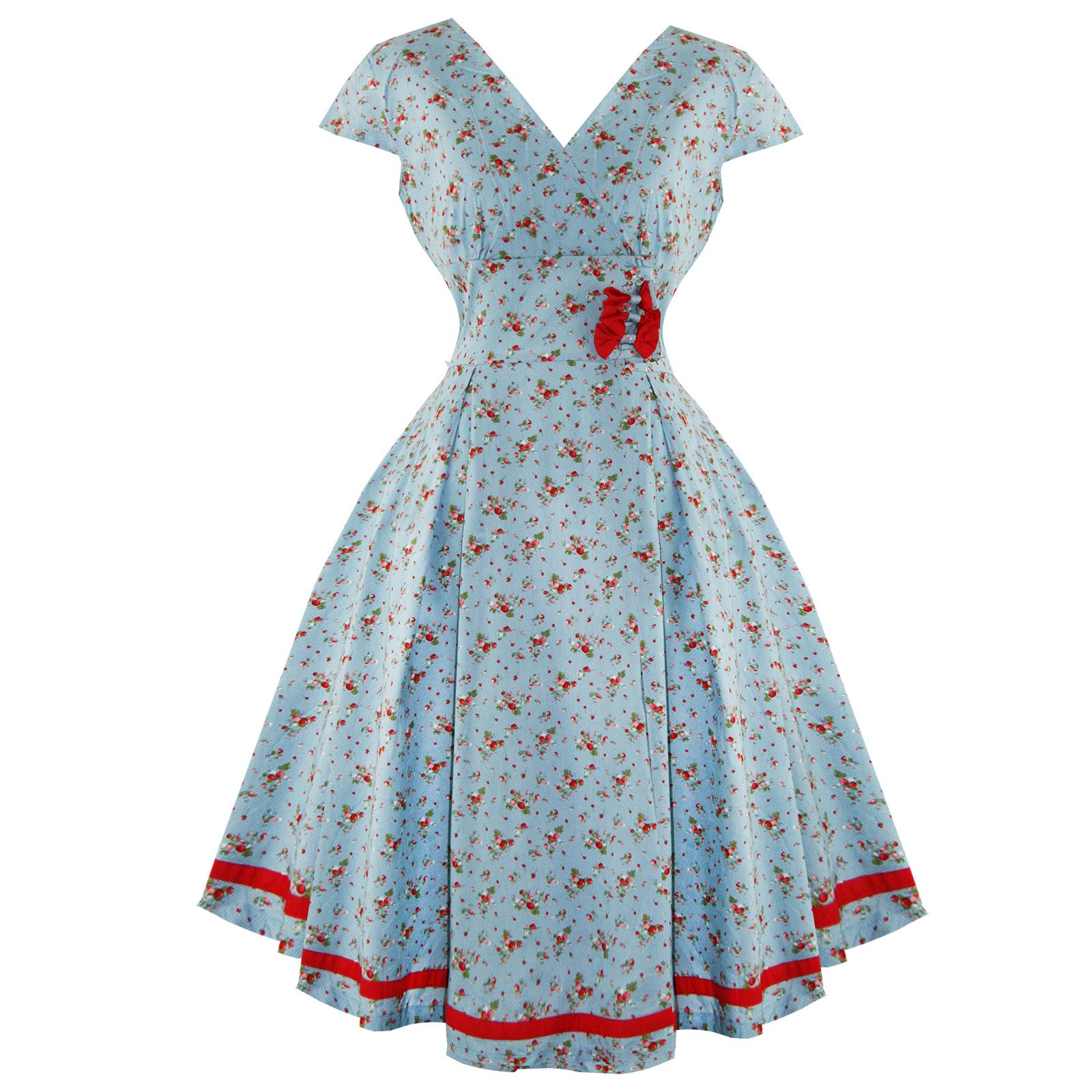 Whispering Ivy Blue Ditzy Print Floral 50s Vintage Tea Party Dress ...