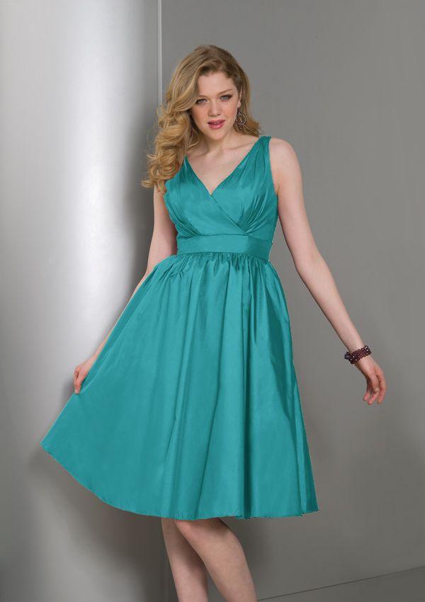 Cheap Plus Size A-Line V-neck Knee-Length Taffeta Bridesmaid Dresses - Cheap Bridesmaid Dresses