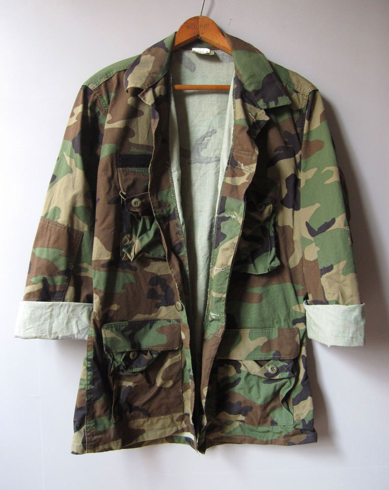 c22983b6499 Vintage Mens Camo Army Jacket Shirt Camouflage Military Combat Long M   hipster  camo jacket  camo  camouflage  hunting