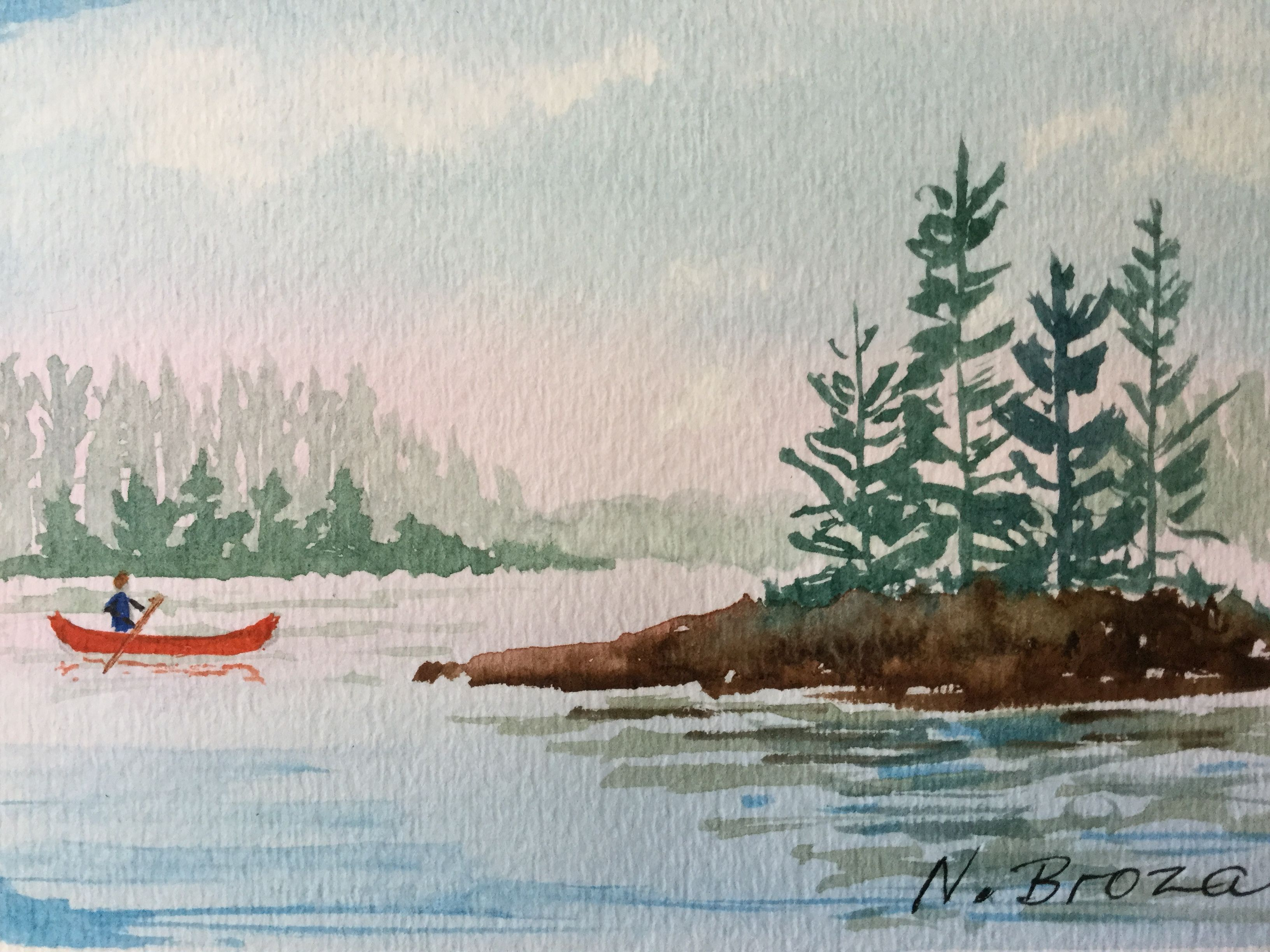 Watercolor Lake With Red Canoe With Images Lake Painting