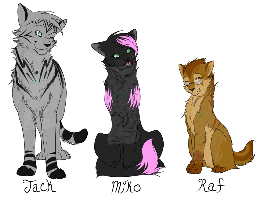 Catformers: Jack, Miko, and Raf by MoonTiger456 on