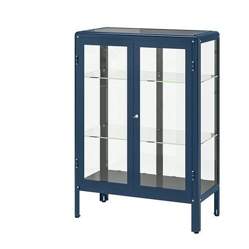 Ikea Fabrikor Black Blue Gl Door Cabinet In 2019