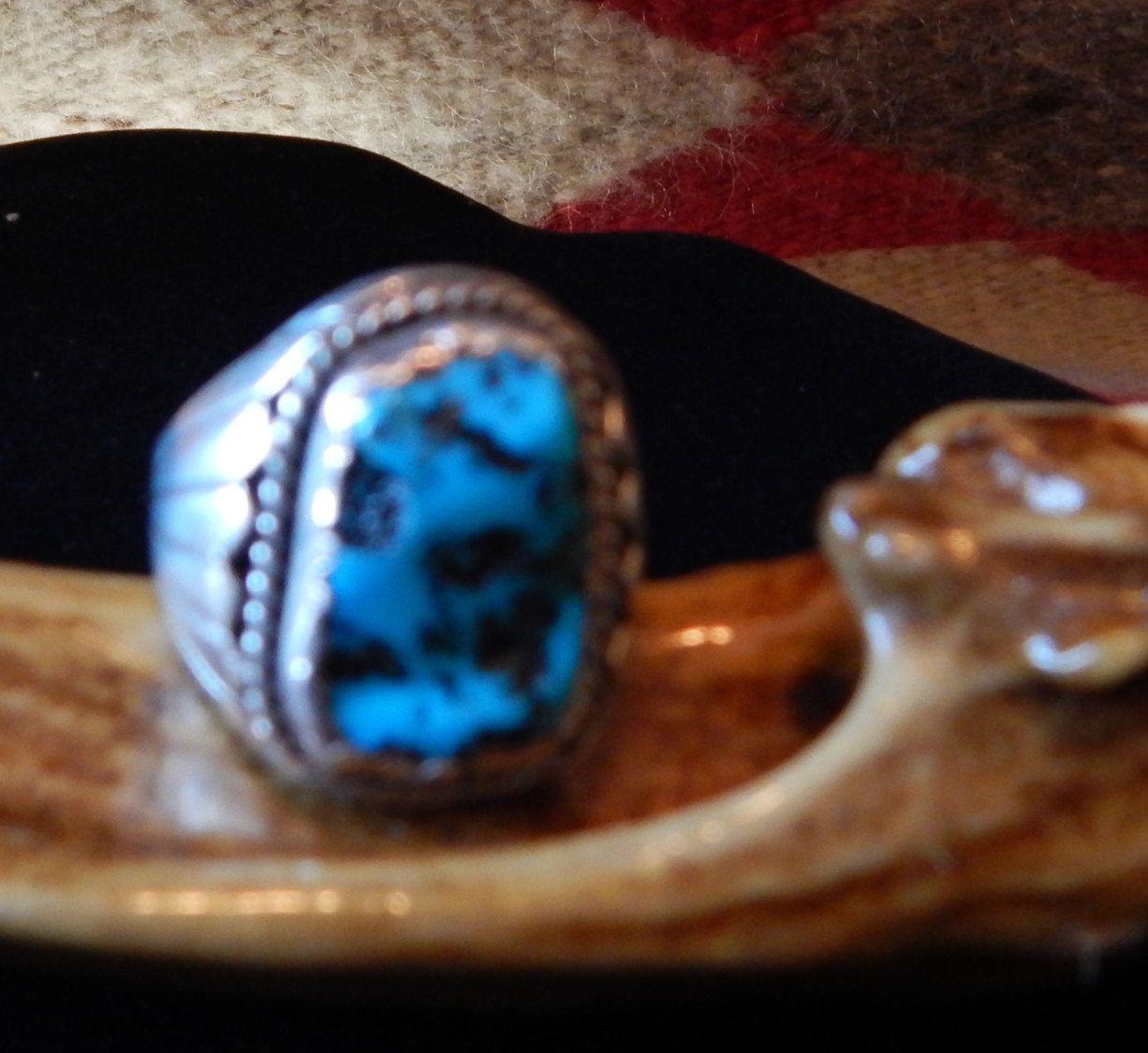 Kingman turquoise 10 half ring Native American Jewelry Navajo turquoise jewelry vintage turquoise mens jewelry horse womens jewelry by CherokeeKachinaCasey on Etsy