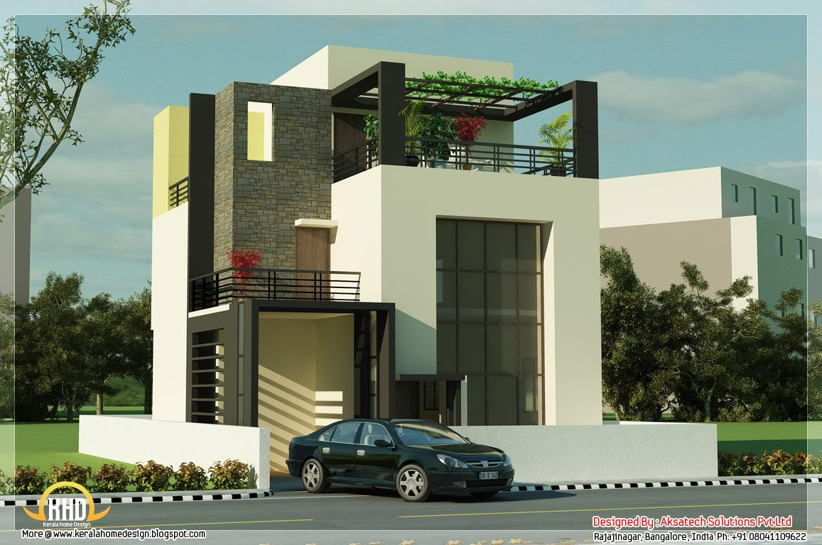 beautiful modern contemporary house renderings indian home decor contemporary house renderings kerala home design and floor plans - Home Design Plans With Photos