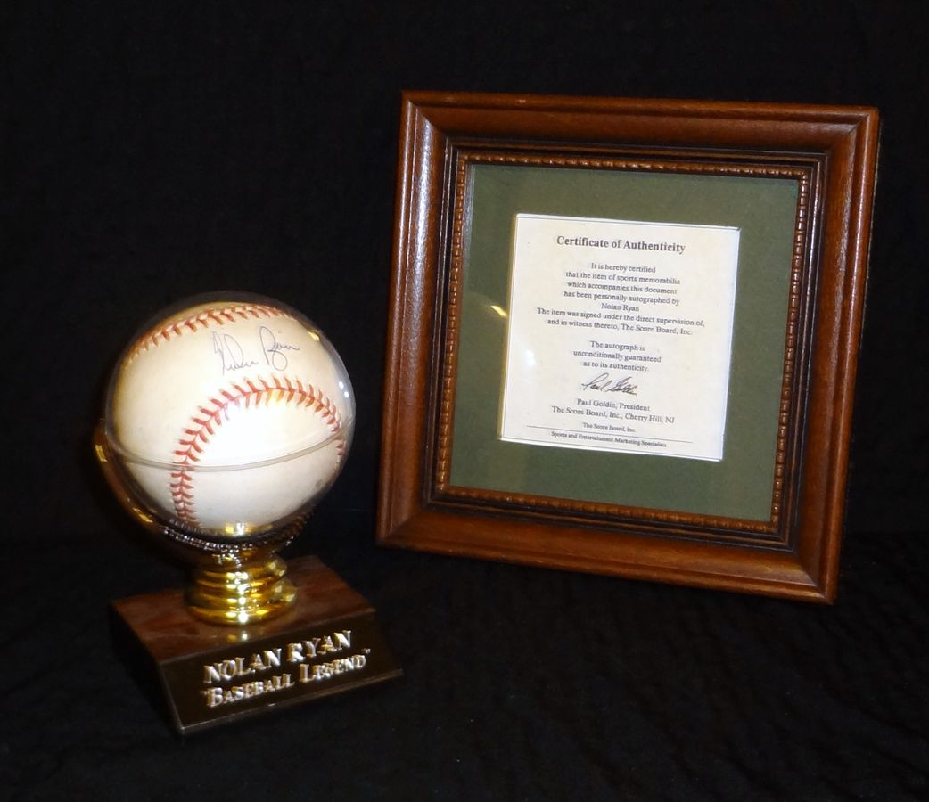 Baseball autographed by Nolan Ryan includes display case and stand.  Comes with Certificate of Authenticity.  Can't be missed for your Brewers Collection!