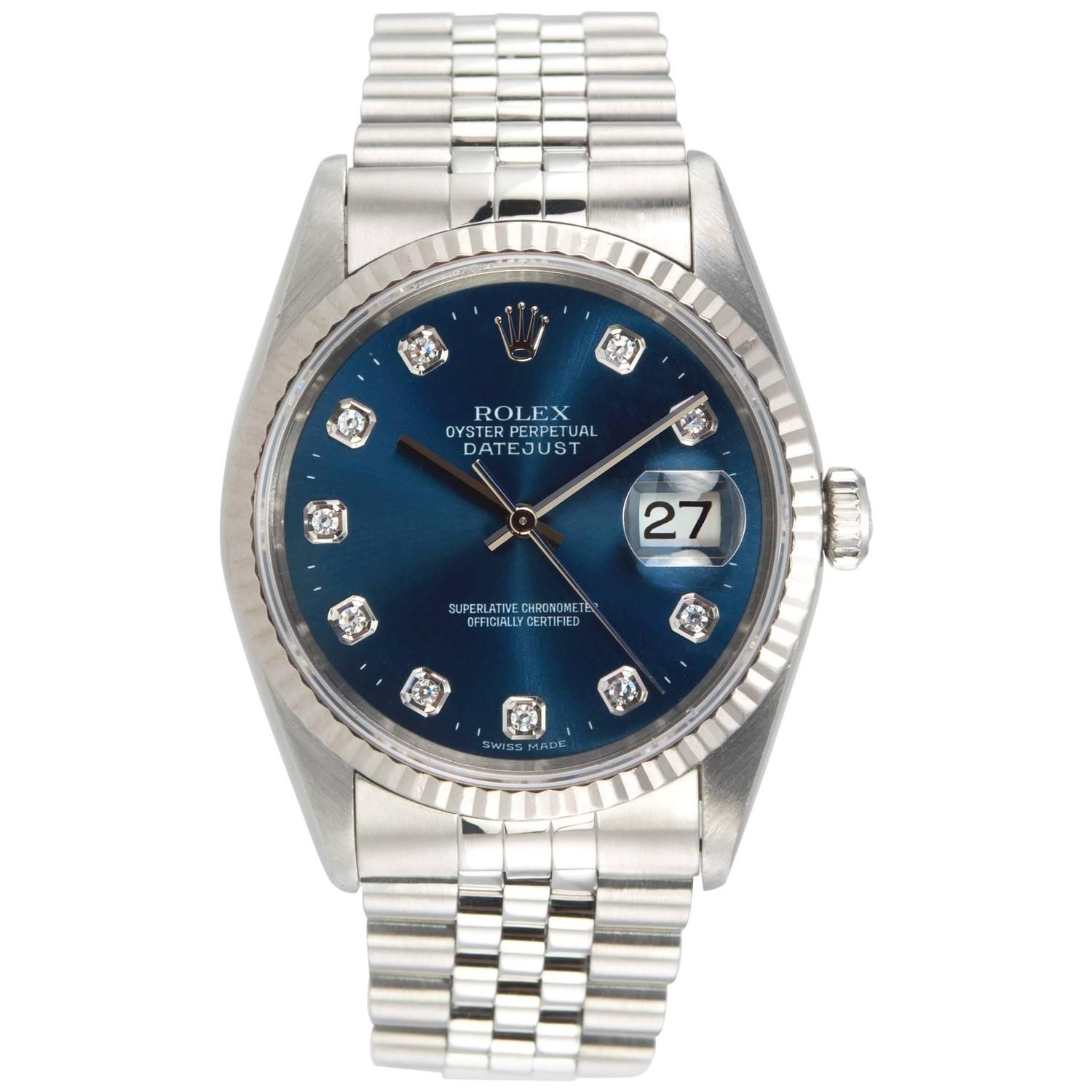 Rolex Stainless Steel Diamond Blue Dial DateJust Wristwatch Ref 1623 | From a unique collection of vintage wrist watches at https://www.1stdibs.com/jewelry/watches/wrist-watches/