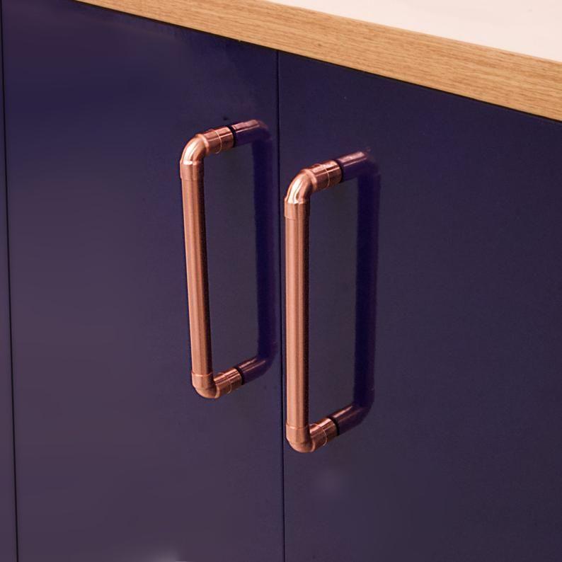 Modern Copper Door Pull Kitchen Door Copper Drawer Handle Etsy In 2020 Copper Handles Door Handles Cupboard Handles