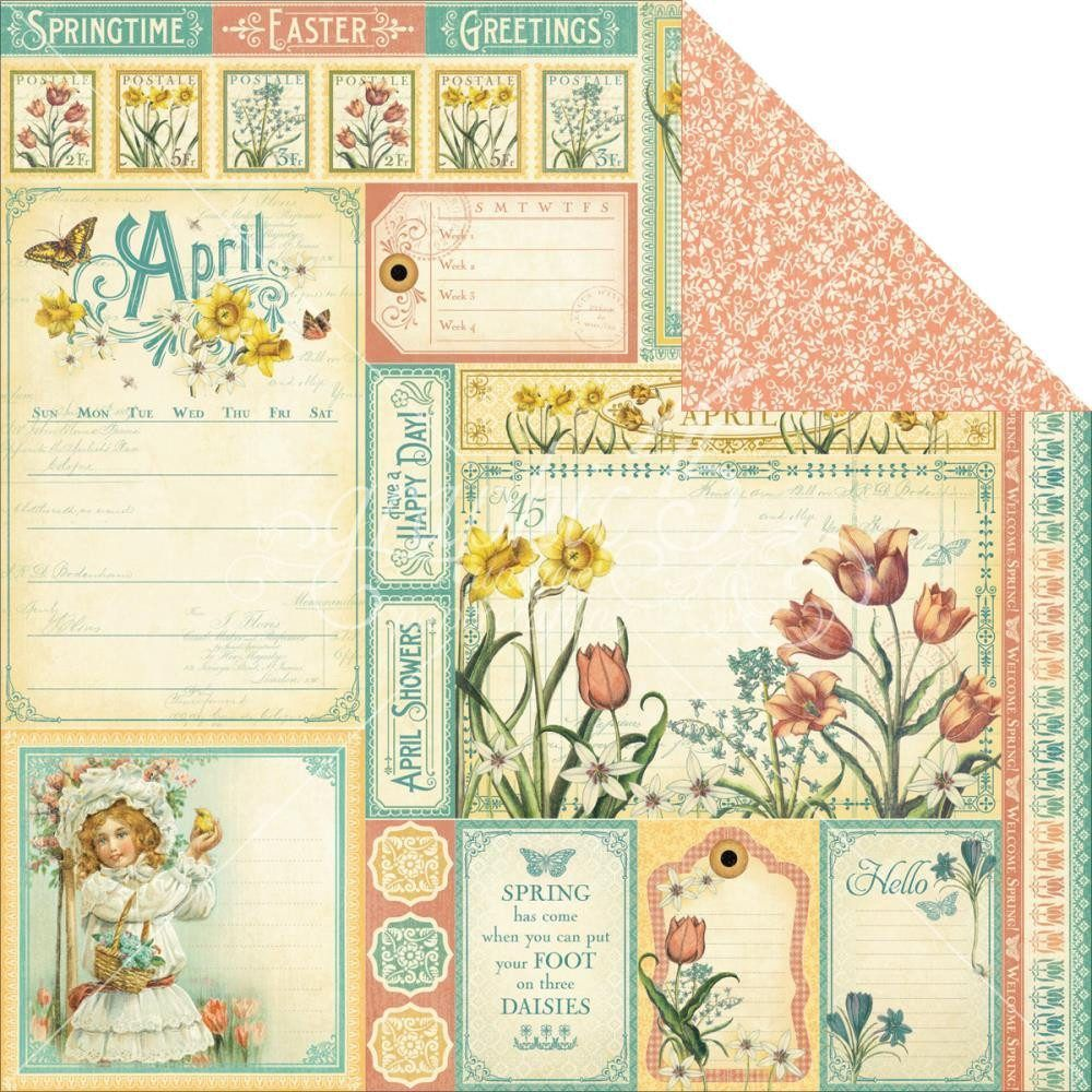 Graphic45  2 sheets cut apart FEBRUARY Time to Flourish  Collection