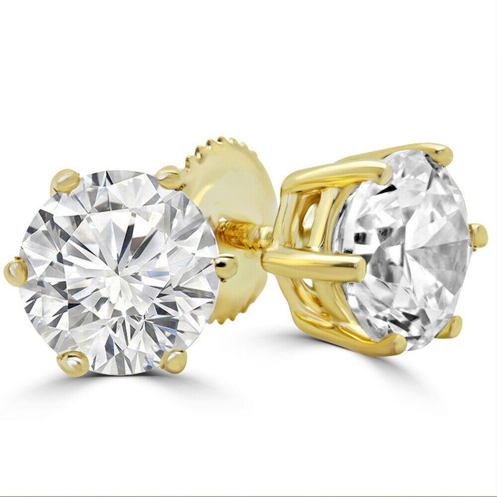 2.00CT Round Cut Blue Sapphire Solitaire Stud Earrings In 14K Yellow Gold Over