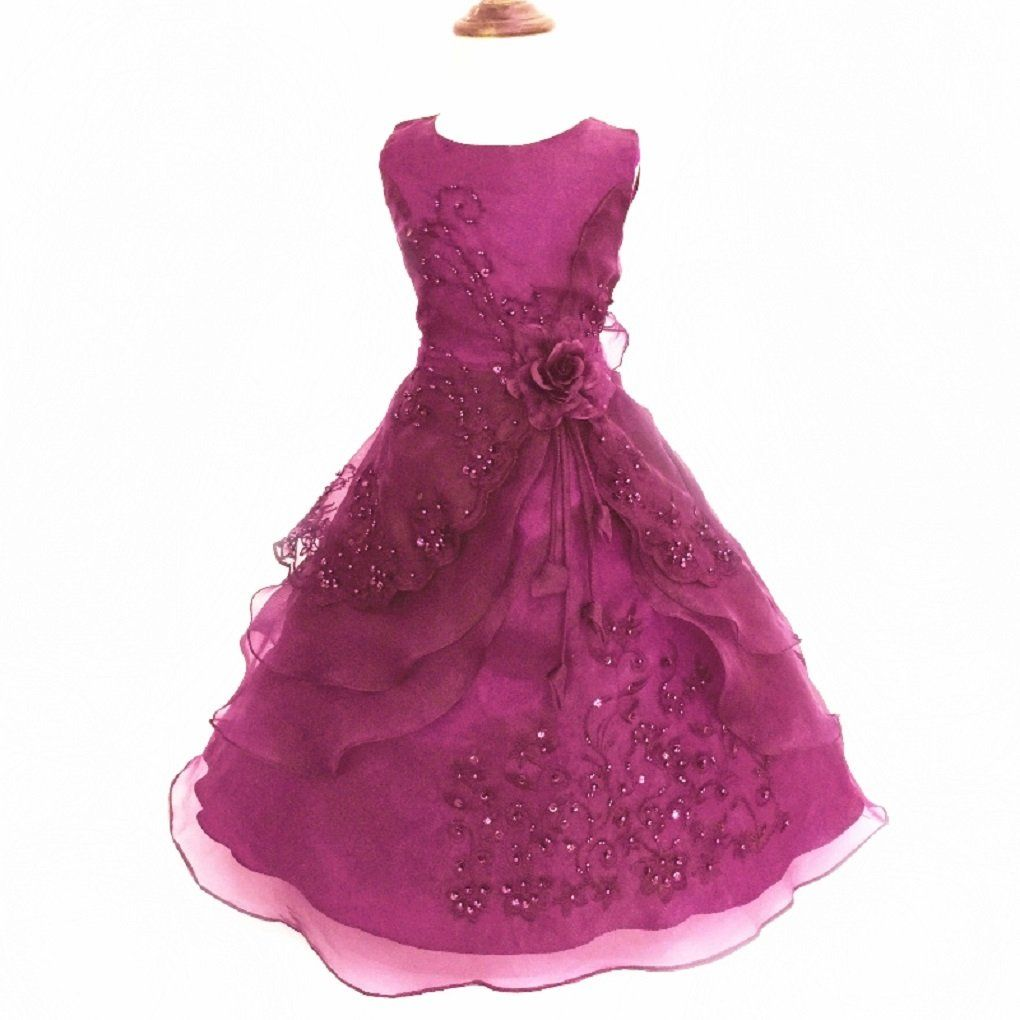 970aa6d16c1f Little Girls Embroidered Beaded Flower Girl Birthday Party Dress with  Petticoat Wine 4t-5t.