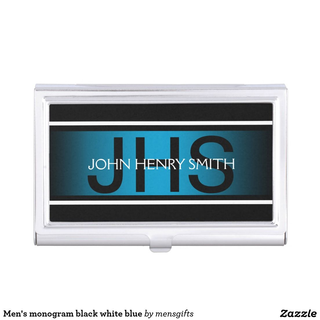 Men\'s monogram black white blue business card case | Business card ...