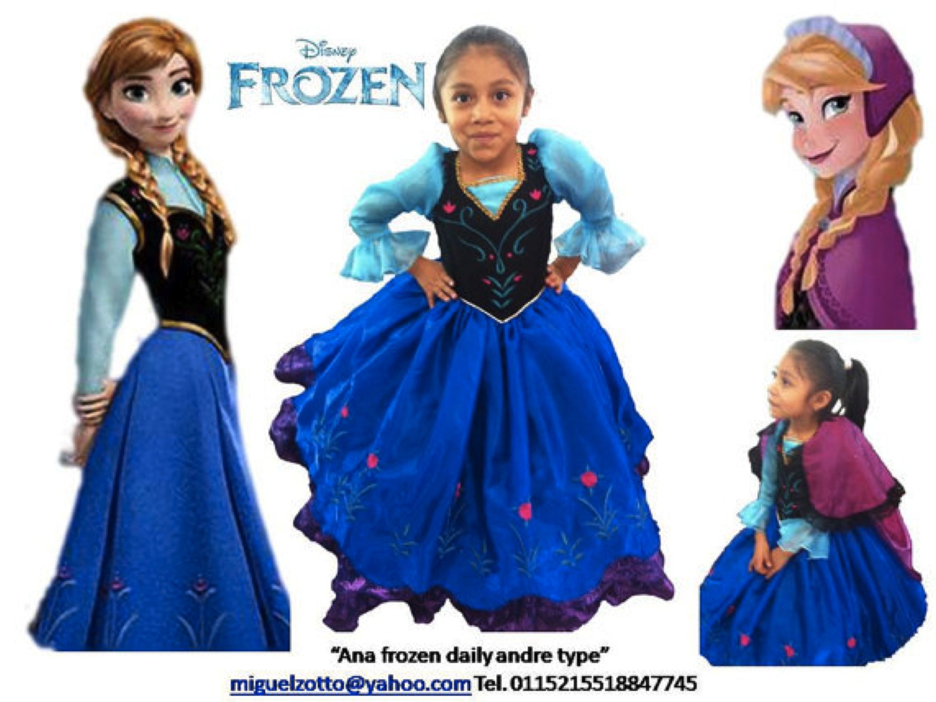 Ana Anna Frozen Disney Princess Girl Costume Dress Dressup Outfit Cosplay Disguise Ball Gown Masquerade I Disfraz Princesa Disfraz Frozen Vestidos Para Ninas