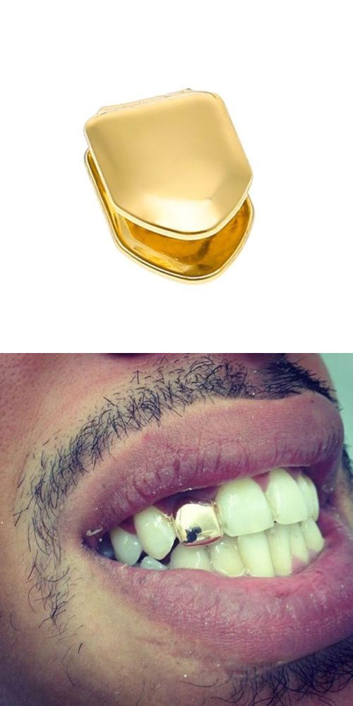 WH Single Tooth Clip Mouth Teeth Cap Grills Bling Hip Hop  Silve//Gold