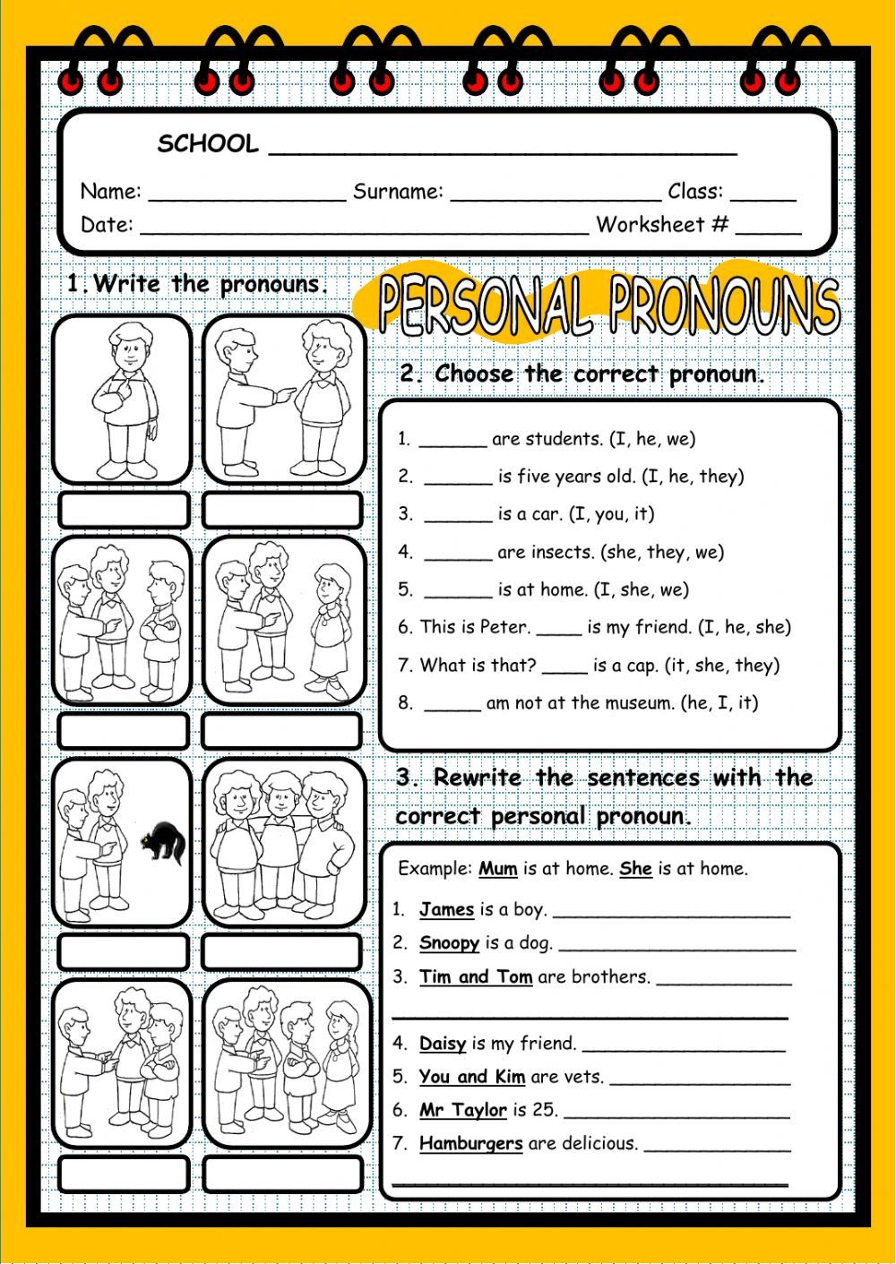 Personal pronouns interactive and downloadable worksheet