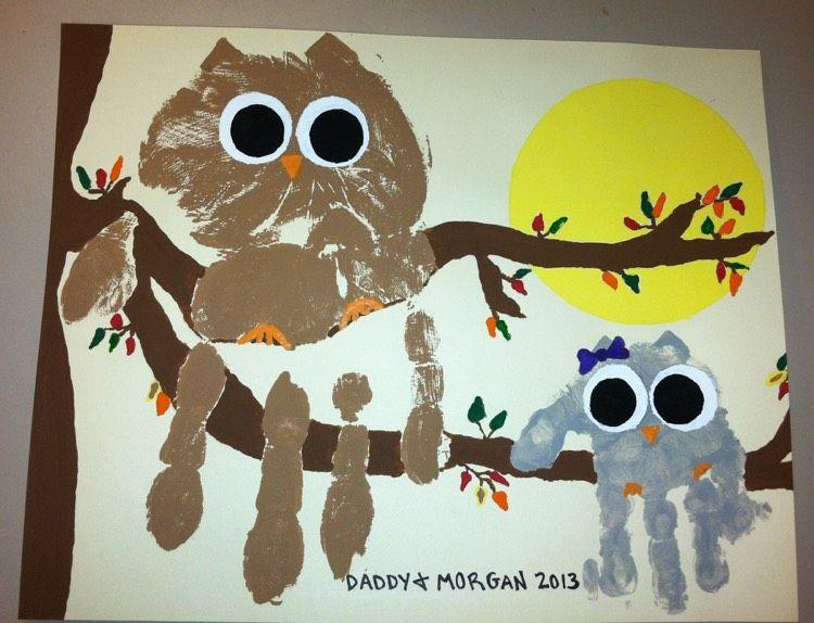 Handabdruck Bilder Kinder Eule Vogel Familie Vatertag Basteln Mit