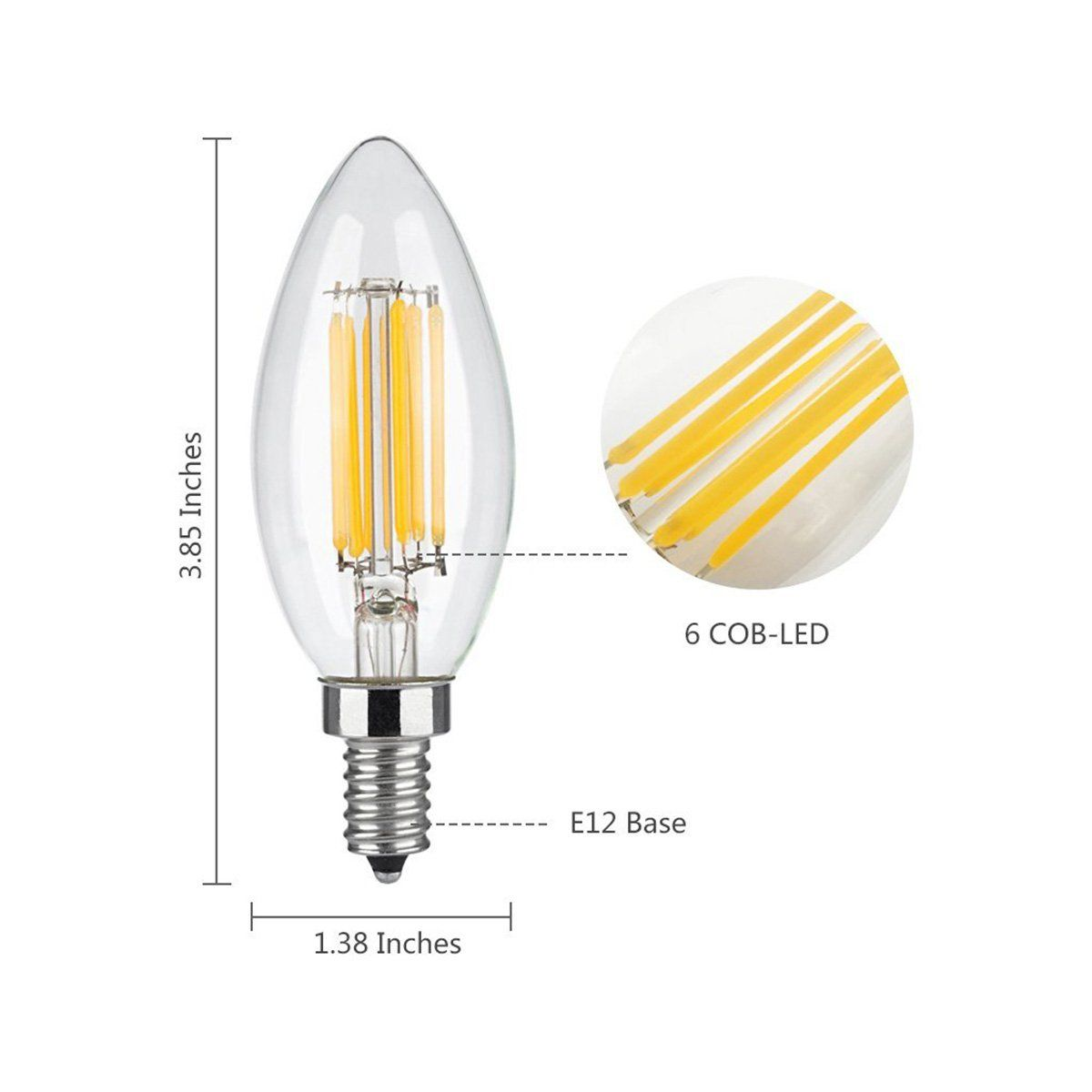 Wonninek 6w Dimmable Led Filament Candle Light 3200k 600lm Chandelier Led Bulb E12 Candelabra Base Lamp C35 Torpedo Shape Bull Dimmable Led Led Bulb Light Bulb