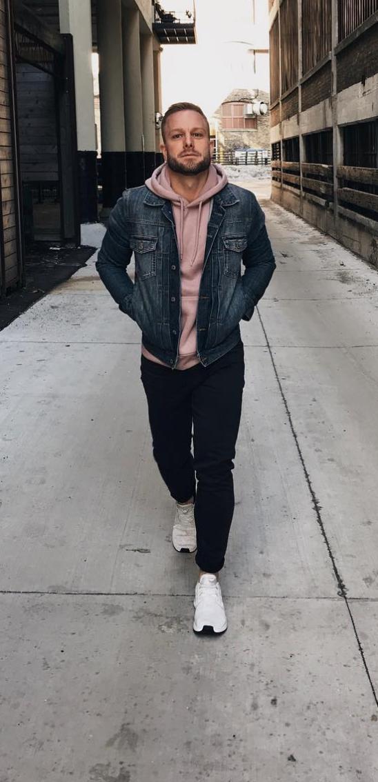Men S Street Style H M Sweatshirt Jean Jacket And Black Denim