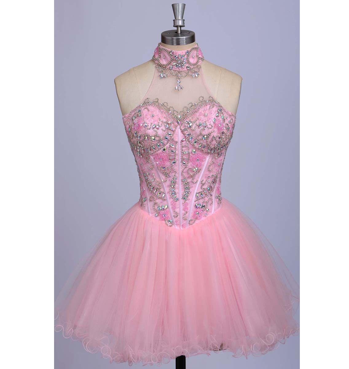 Women\'s 2017 Sparkly High Neck Blush Pink A-Line   5   Pinterest