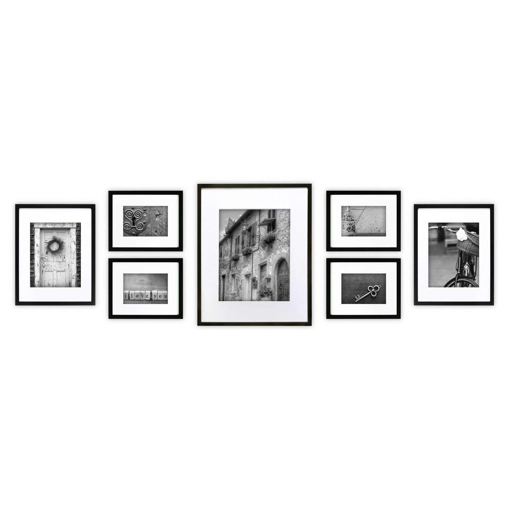 Gallery Perfect 7 Piece Multi-Size Wall Frame Set - Black   Wall ...