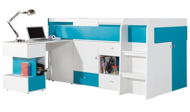 Lit enfant avec bureau coulissant pas cher jolly mobilier