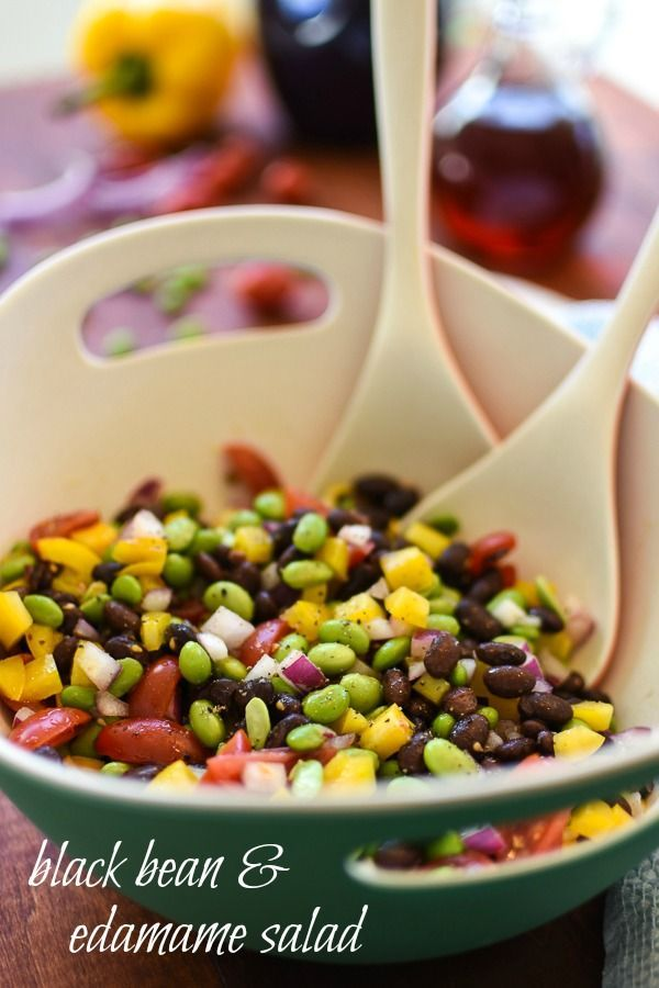 This black bean and edamame salad is so fresh and flavorful! The beans and crisp veggies, including just a bit of spicy raw onion go so perfectly with the sweet-tart dressing. One of my fave healthy side recipes!