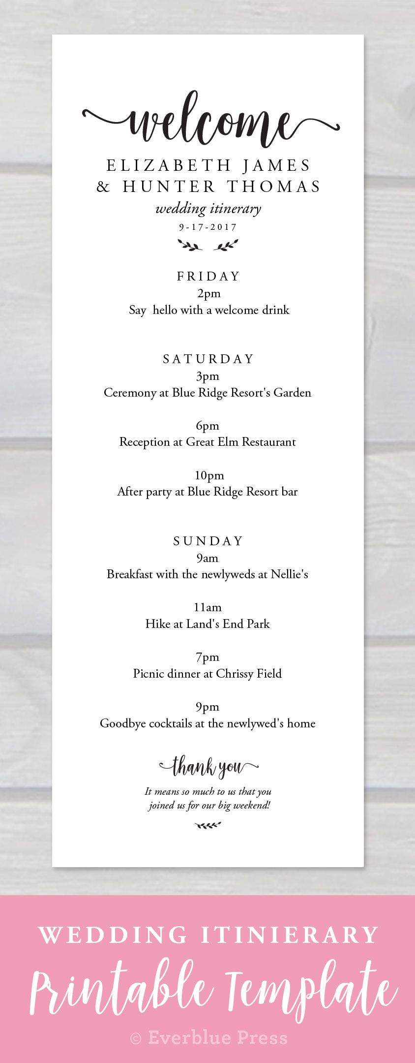 Everblue Presss Wedding Welcome Weekend Itinerary Template Allows