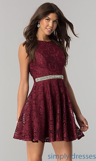 Short Burgundy Lace Party Dress With Jeweled Waist Formal