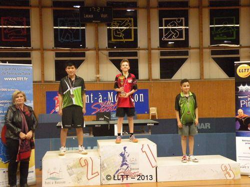Collin Jager staat in Metz op het ereschavot met een mooie 2e prijs in het internationale jeugdtoernooi, eind 2013. Begeleiding was in handen van de TTSD.