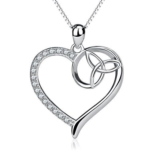 925 Real Sterling Silver Unique Celtic Knot Butterfly Charm Love Heart Pendant Necklace Jewelry for Women E7fOkQU