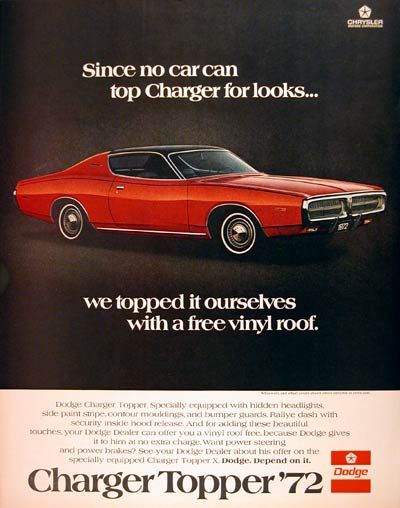 1972 Dodge Charger Original Vintage Advertisement With