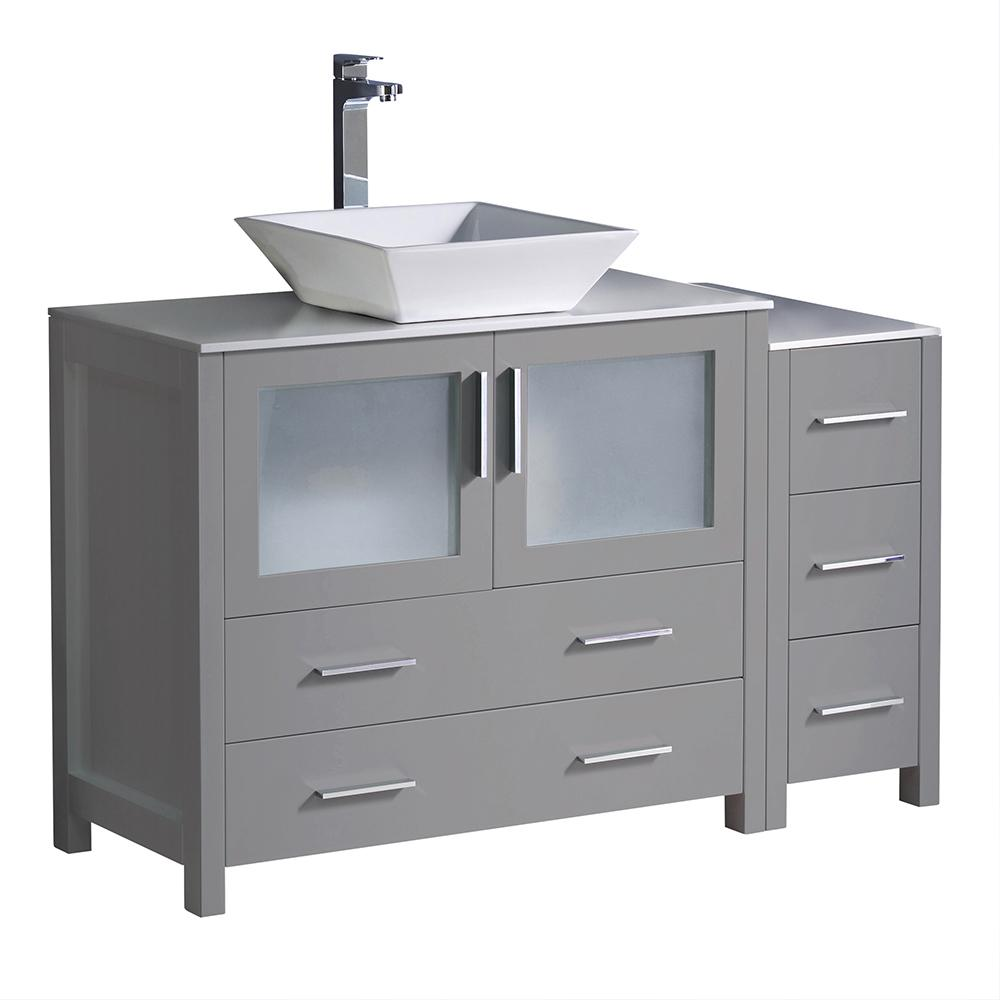 Fresca Torino 48 In Bath Vanity In Gray With Glass Stone Vanity Top In White With White Vessel Sink And Side Cabinet Modern Bathroom Cabinets White Vessel Sink Grey Modern Bathrooms