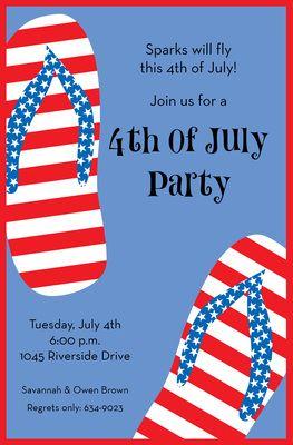 4th Flip Flops Invitations Birthday Party Invitation Wording Sizes Design Patriotic