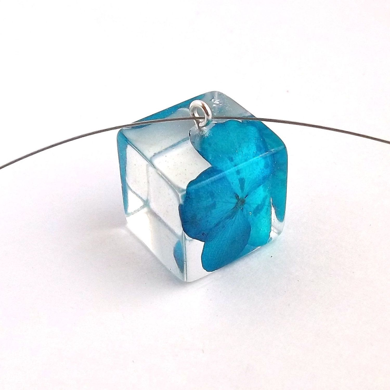 Hydrangea resin pendant blue resin necklace pressed