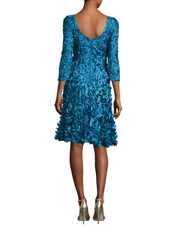 fb45df782be Theia 3 4-Sleeve 3D Petal Cocktail Dress