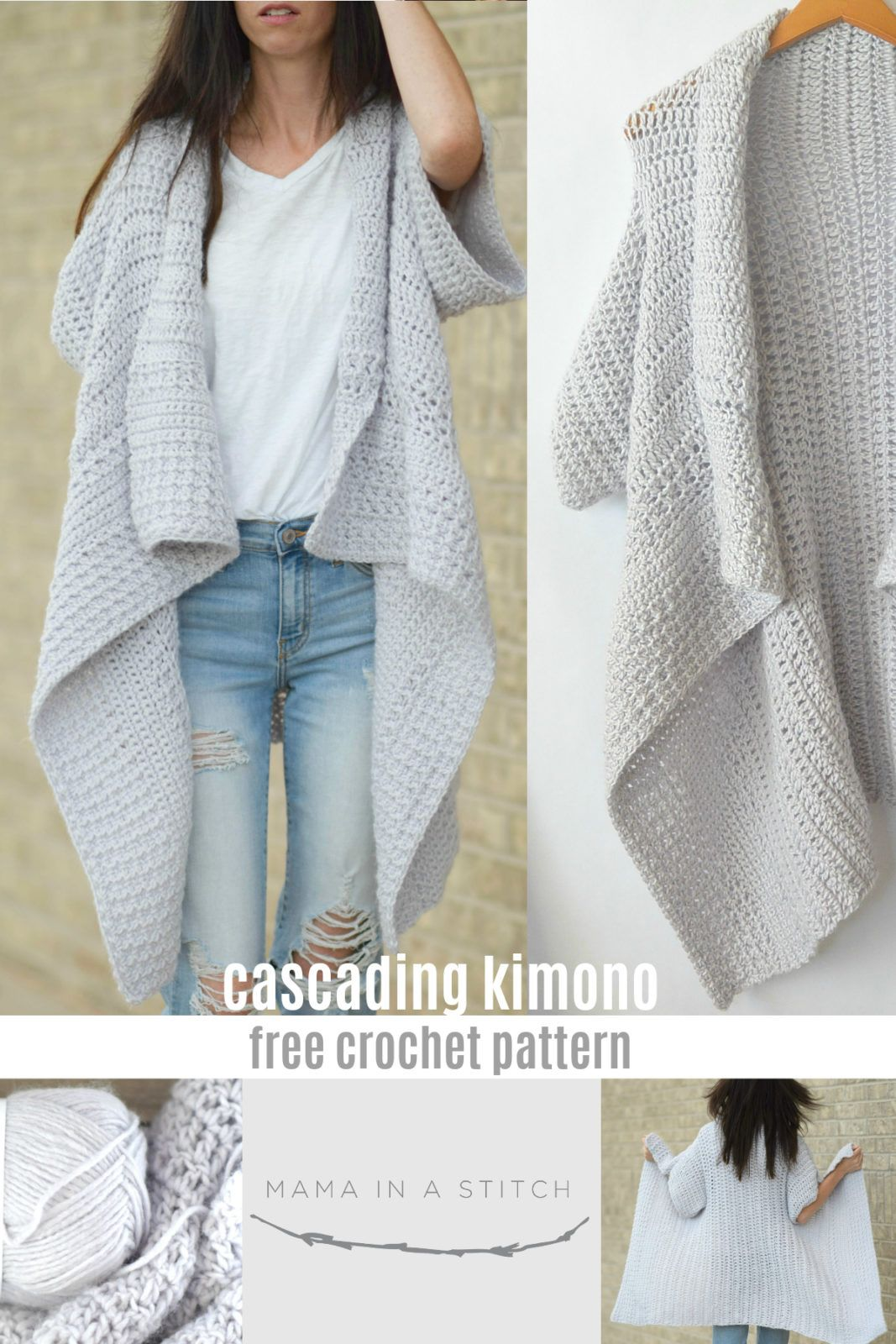 Cascading Kimono Cardigan Crochet Pattern | To do | Pinterest ...