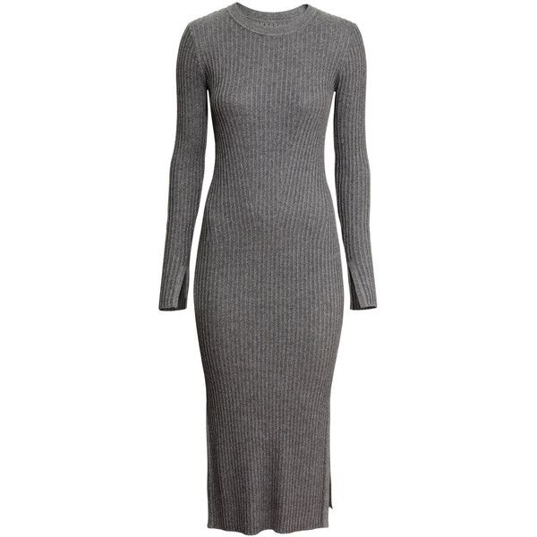 01cdc93b18d5 H&M Rib-knit dress ($46) ❤ liked on Polyvore featuring dresses, dark grey,  long sleeve ribbed dress, long sleeve dress, longsleeve dress, calf length  ...