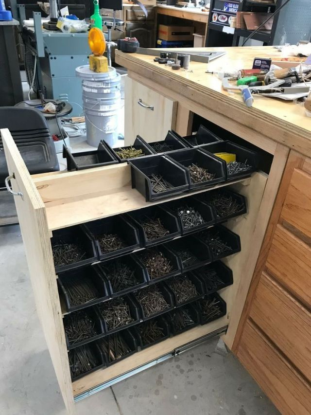 Photo of Storage of nails without sawdust in the bins