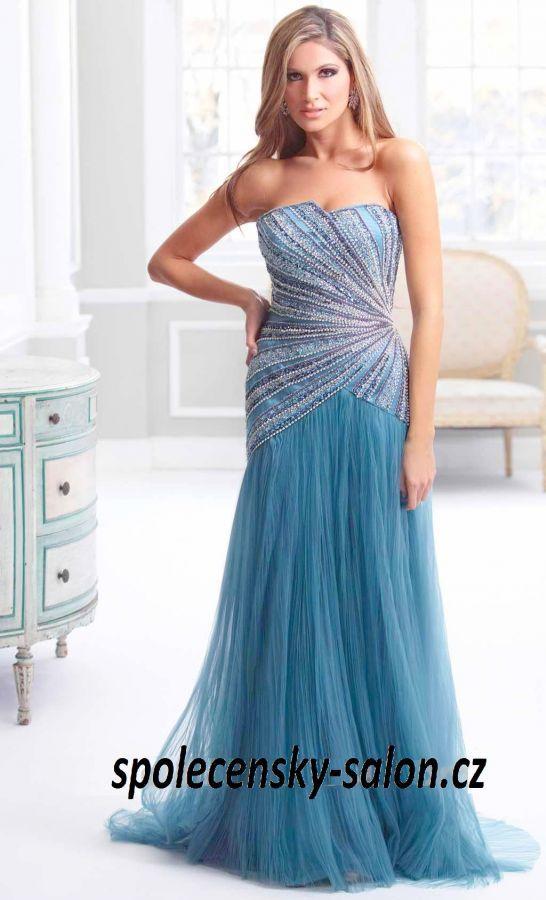 7307b96afb9e extra luxusní společenské šaty na ples 2015 modré s korálky - plesové šaty