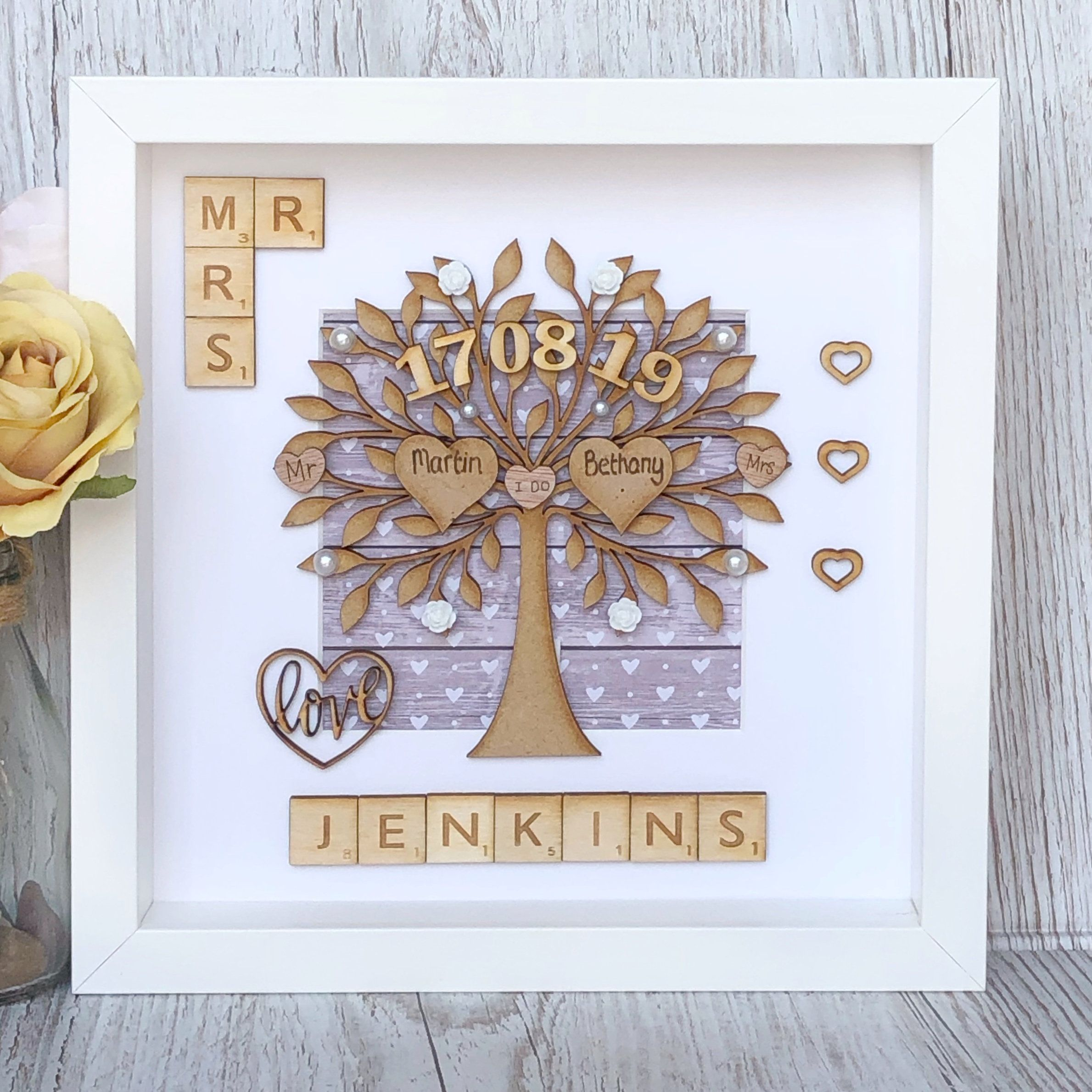 Keepsake Wedding Gifts: Wedding Gift, Personalised Wedding Frame Gift. Scrabble