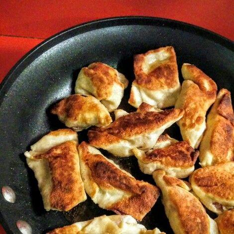 Homemade chinese-style dumplings fry up beautifully!
