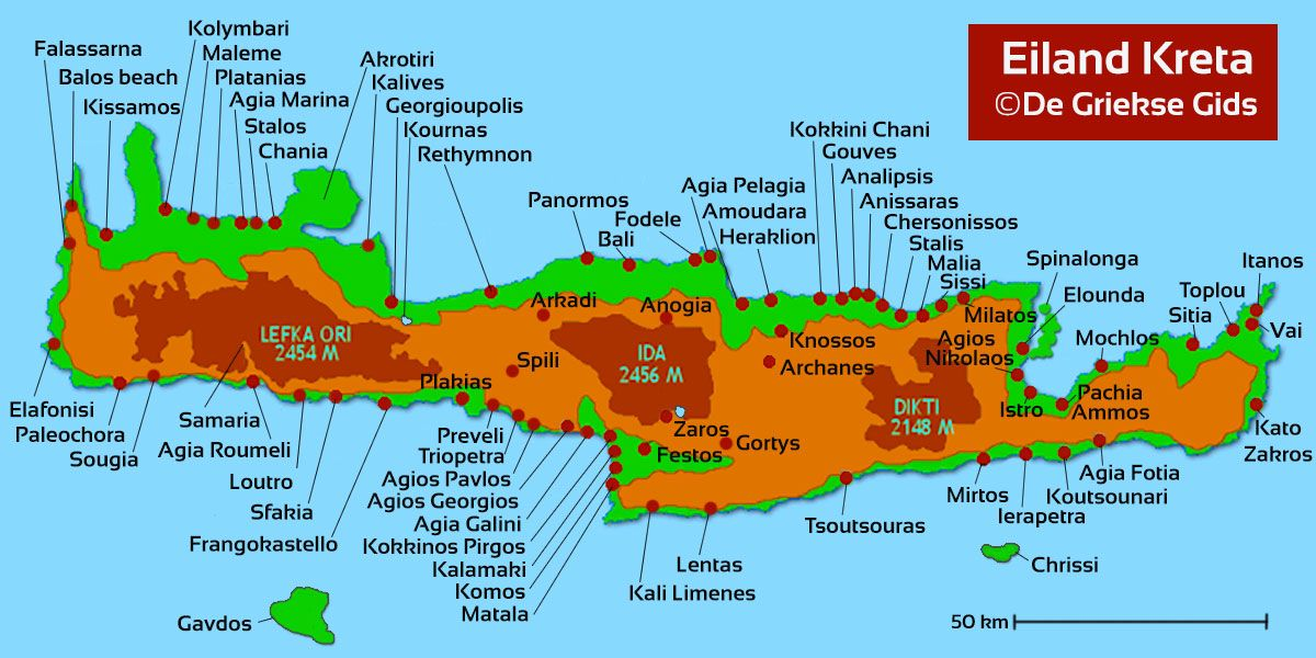 Kaart Kreta Plattegrond Kreta Grecia