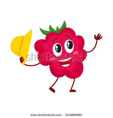 Cute and funny comic style raspberry character holding straw hat, cartoon vector illustration isolated on white background. Red and ripe raspberry character, mascot greeting someone with hat off